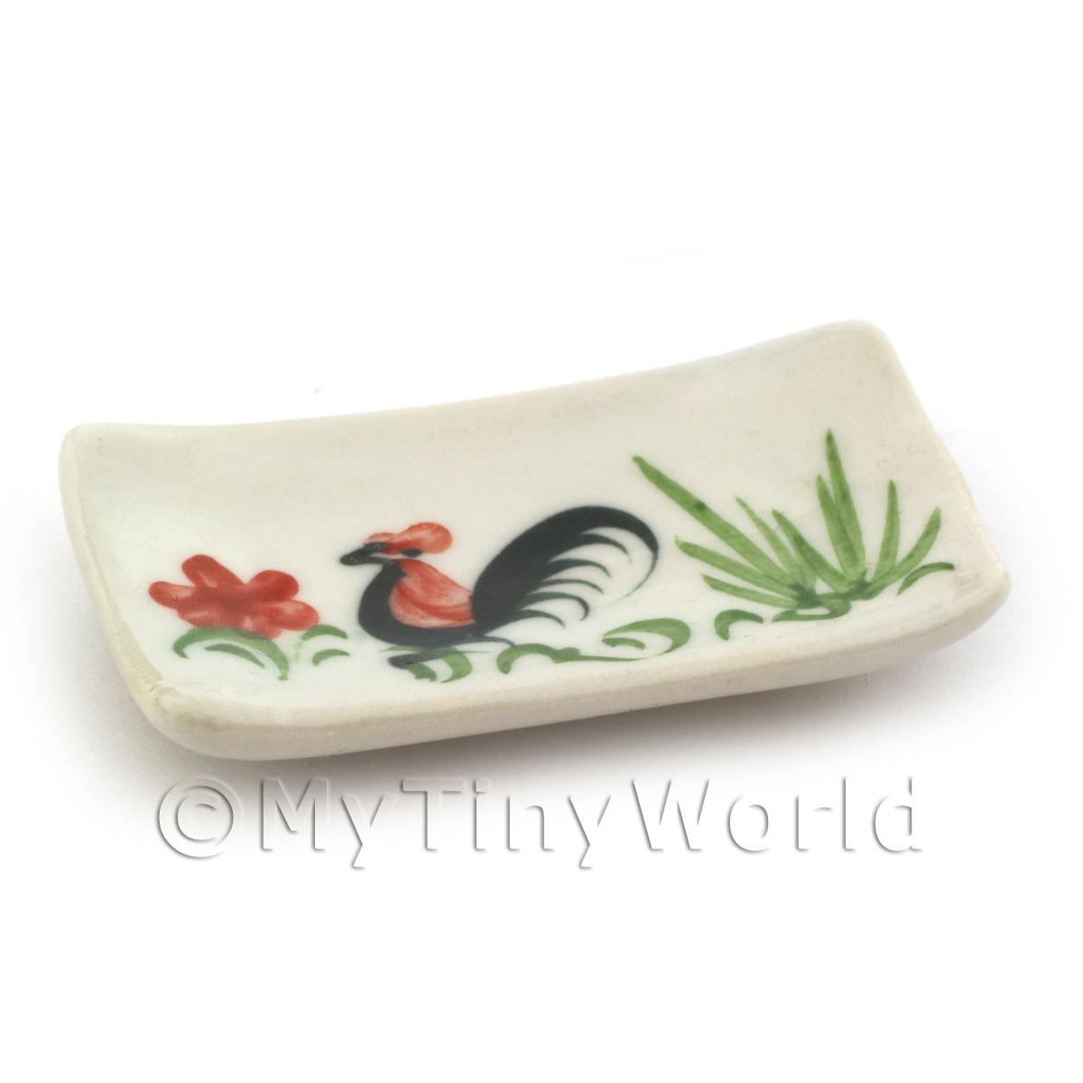 Dolls House Miniature 28mm x 49mm White Ceramic Cockerel Plate