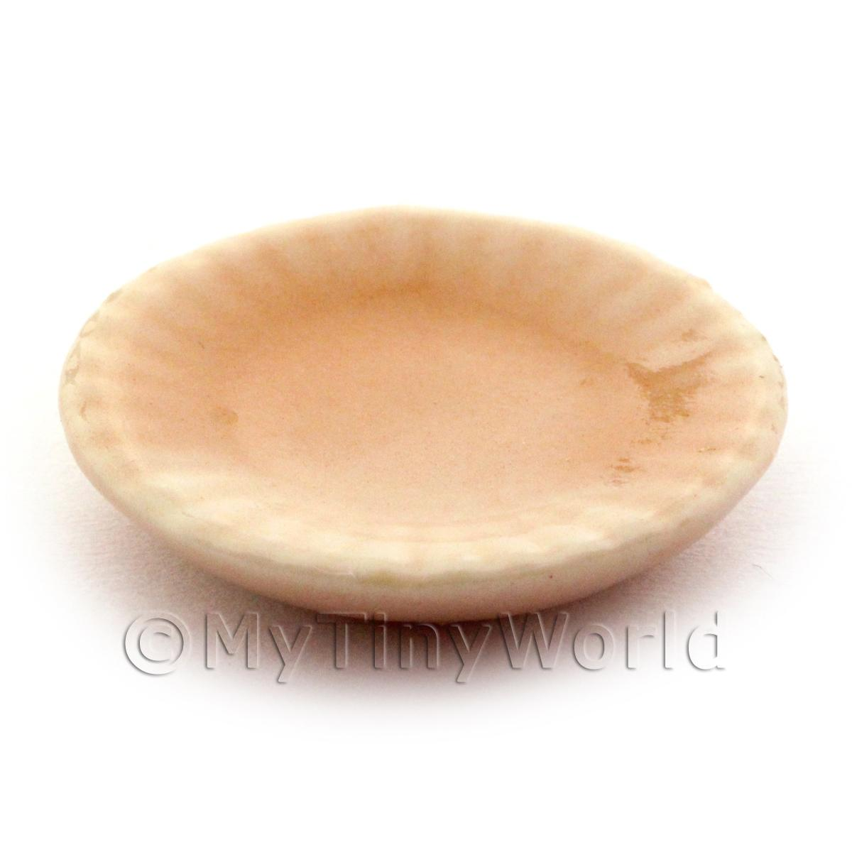23mm Dolls House Miniature Salmon Glazed Ceramic Fluted Plate