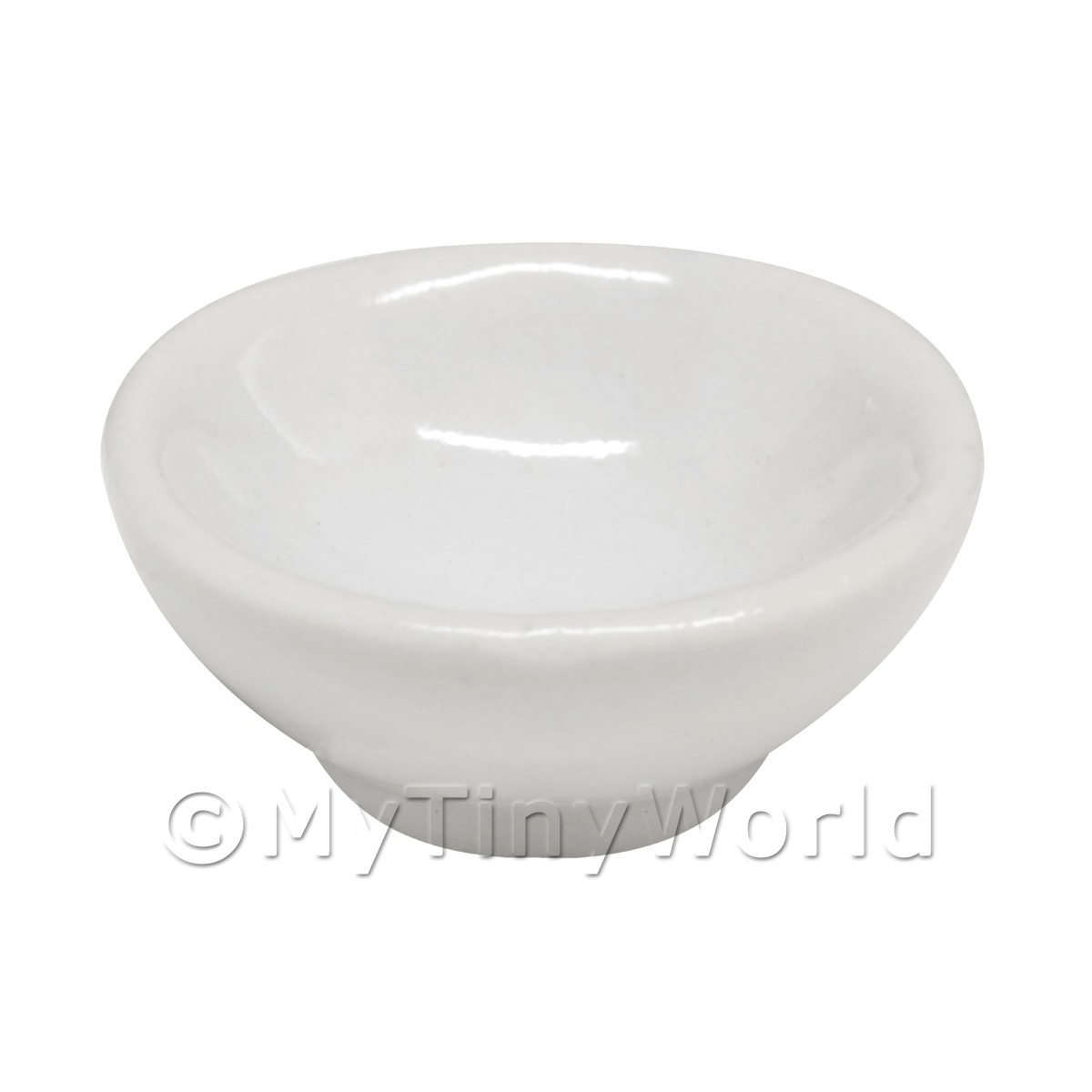 19mm Dolls House Miniature White Glazed Ceramic Bowl