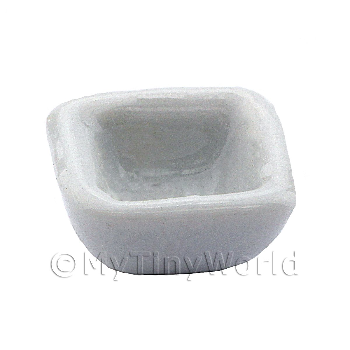 13mm Dolls House Miniature White Glazed Ceramic Square Bowl