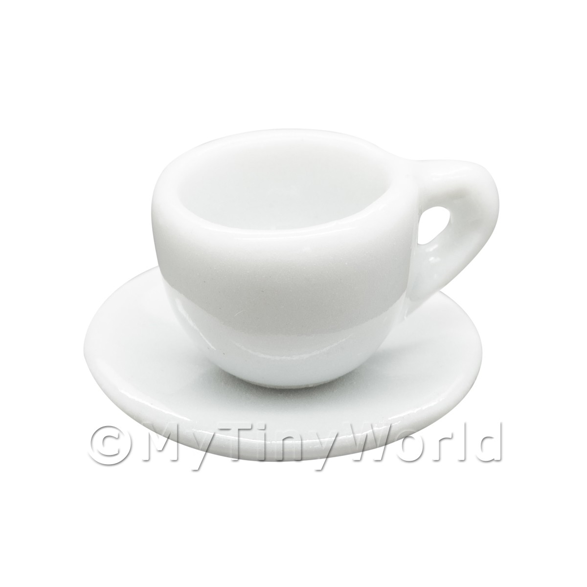 Dolls House Miniature White Ceramic Round Cup and Saucer