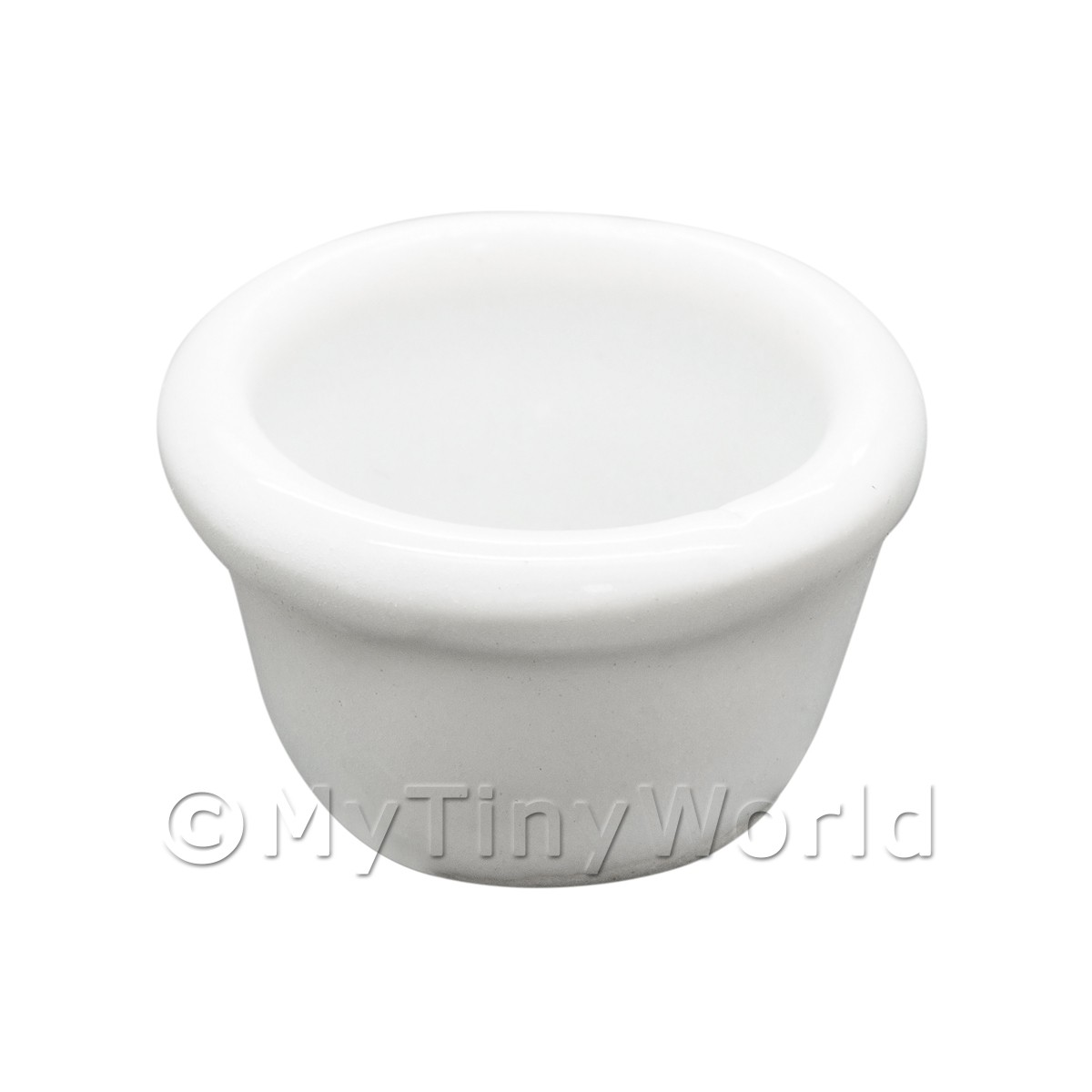 Dolls House Miniature White Glazed Ceramic Flower Pot