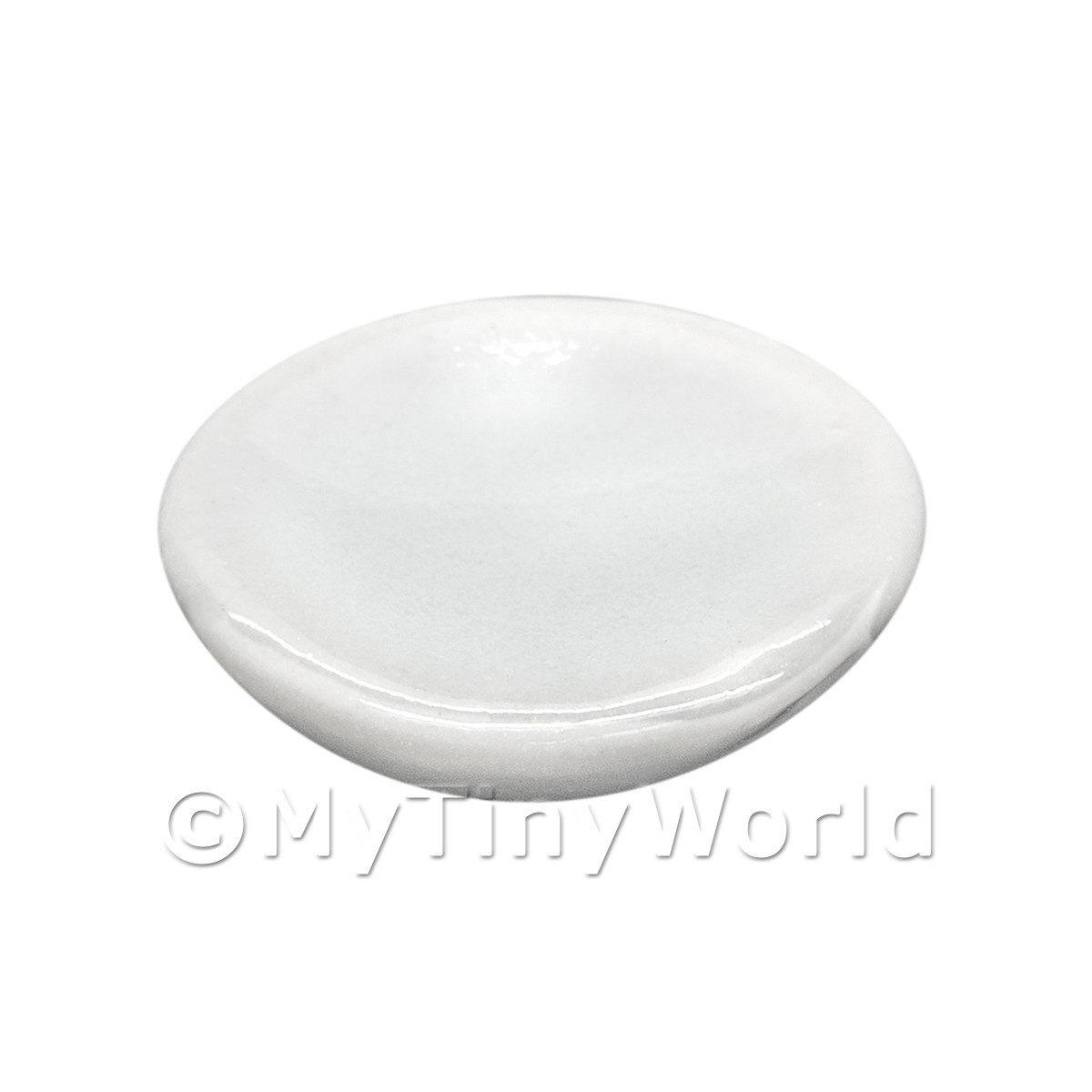 12mm Dolls House Miniature White Glazed Ceramic Plate