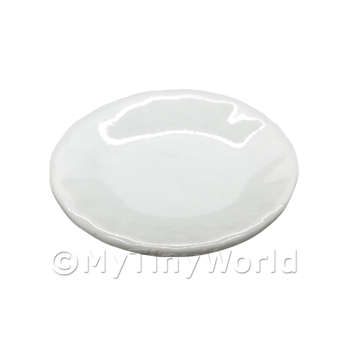 25mm Dolls House Miniature White Glazed Ceramic Plate With Fluted Edge