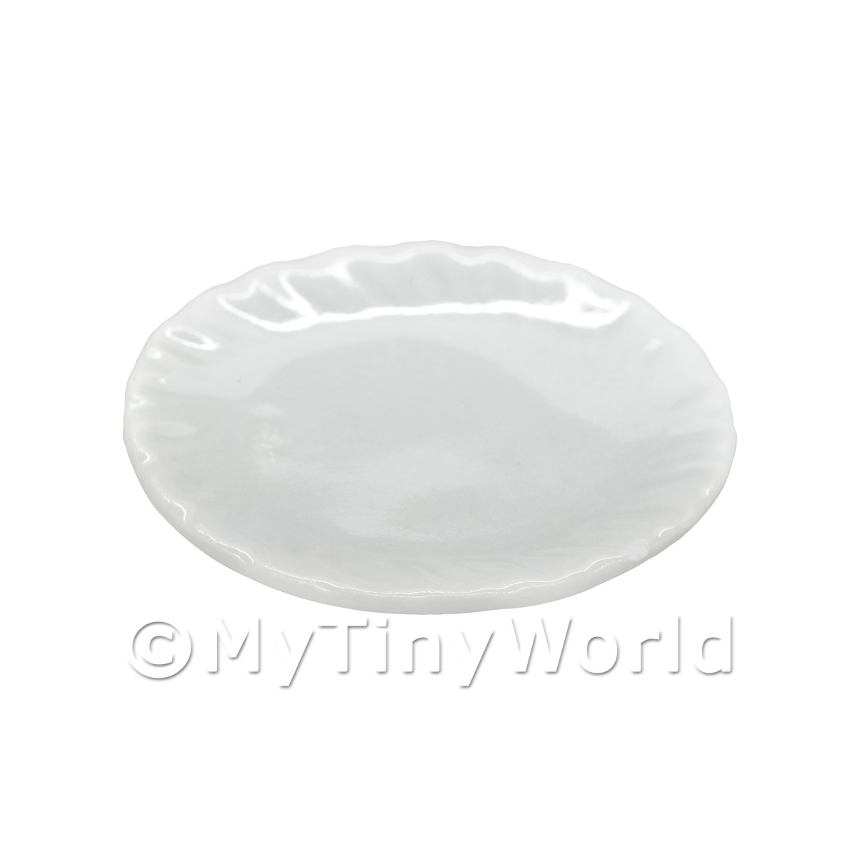 34mm Dolls House Miniature White Glazed Ceramic Plate With Fluted Edge