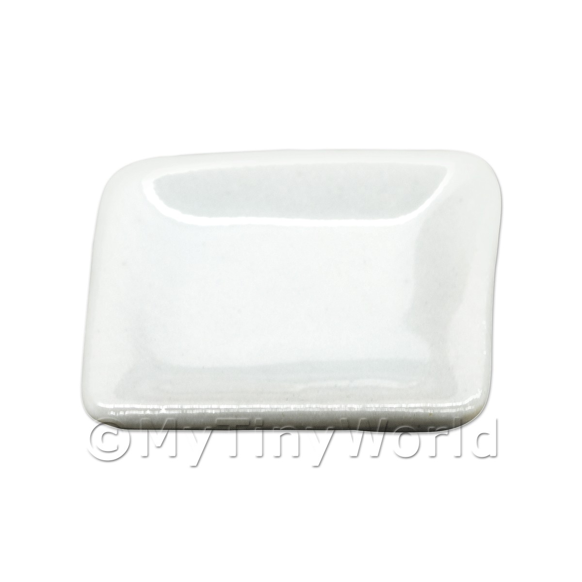 20mm Dolls House Miniature White Glazed Ceramic Square Plate
