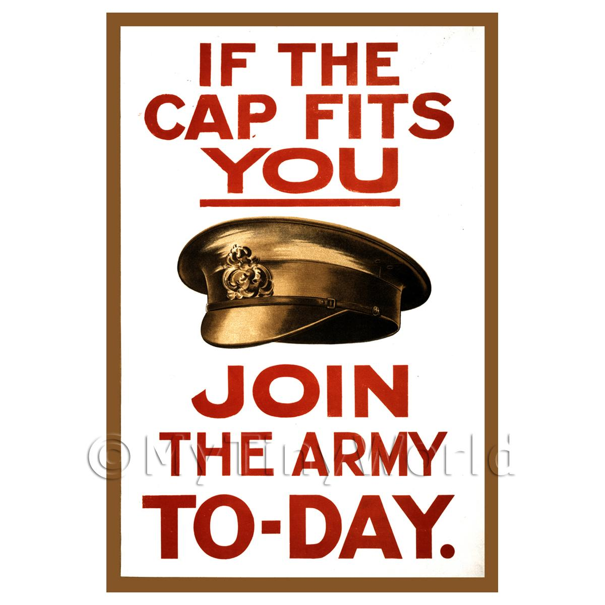 If The Cap Fits You Join The Army - Miniature Dollshouse WWI Poster