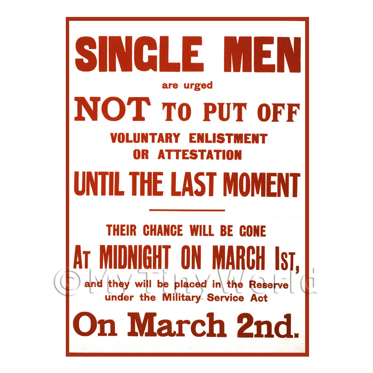Single Men Voluntary Enlistment - Miniature Dollshouse WWI Poster