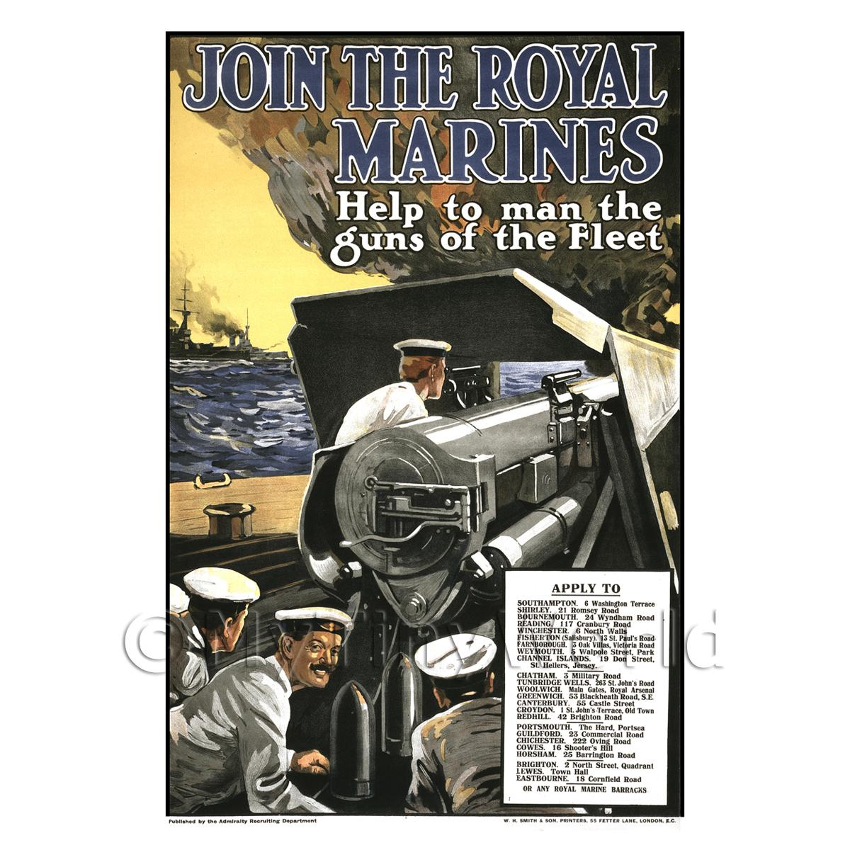 Join The Royal Marines - Miniature Dollshouse WWI Poster