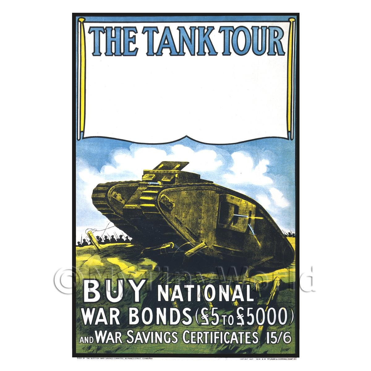 The Tank Tour Buy War Bonds - Miniature Dollshouse WWI Poster