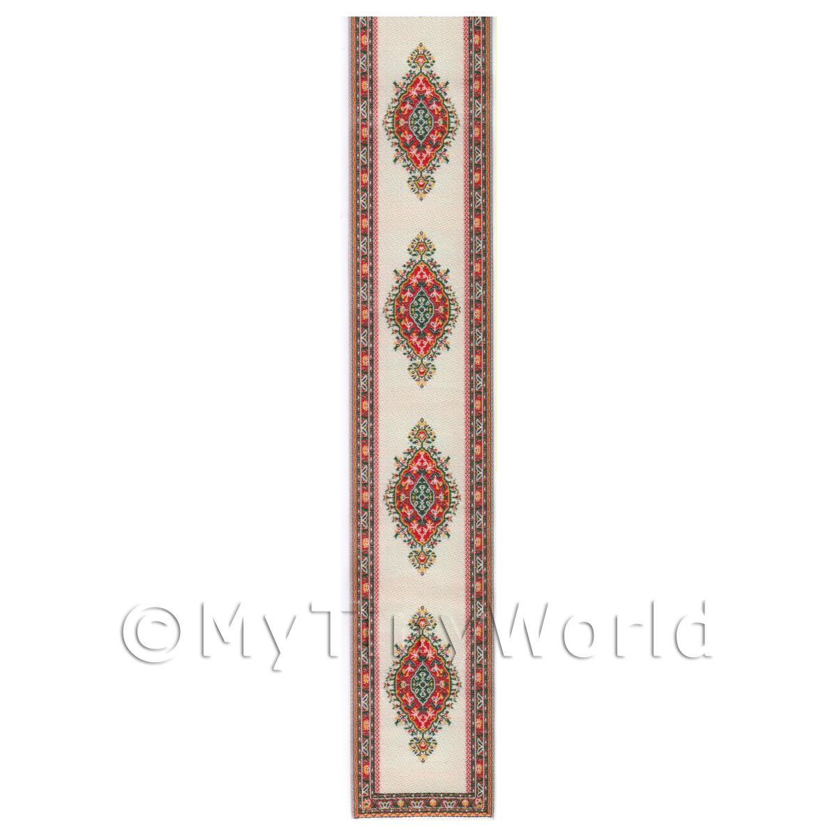 Dolls House Miniature 36cm White Stair Runner With Red Diamonds (MR3)