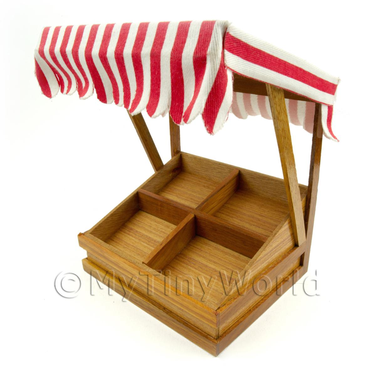 Miniature 4 Section Tilted Shop Display With Red Striped Canopy