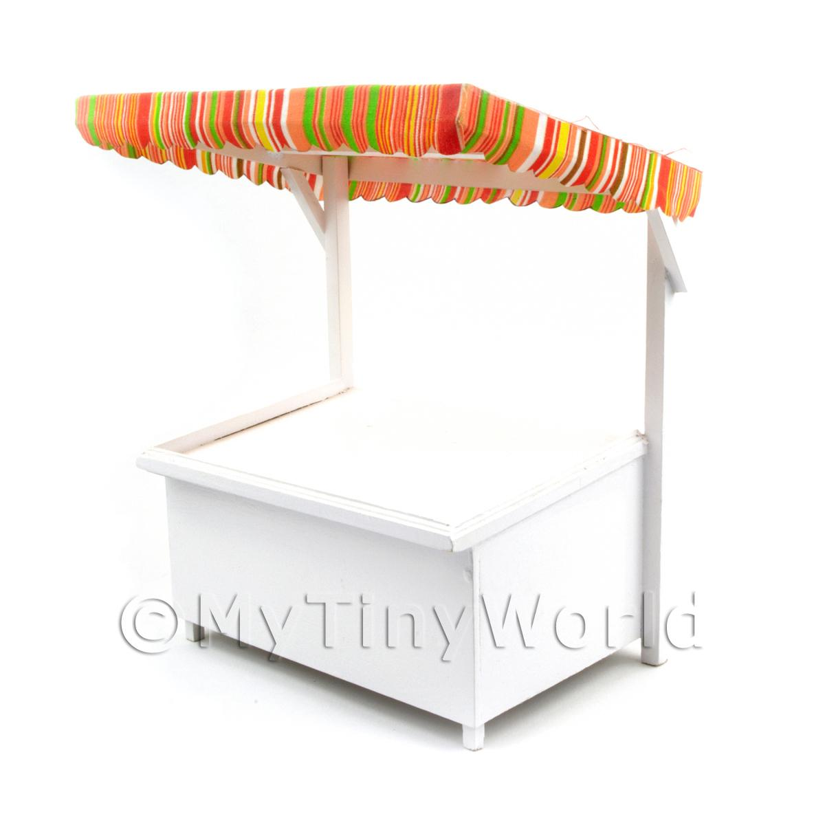 Miniature Large Wood Market Stall With Orange Stripey Cloth Canopy