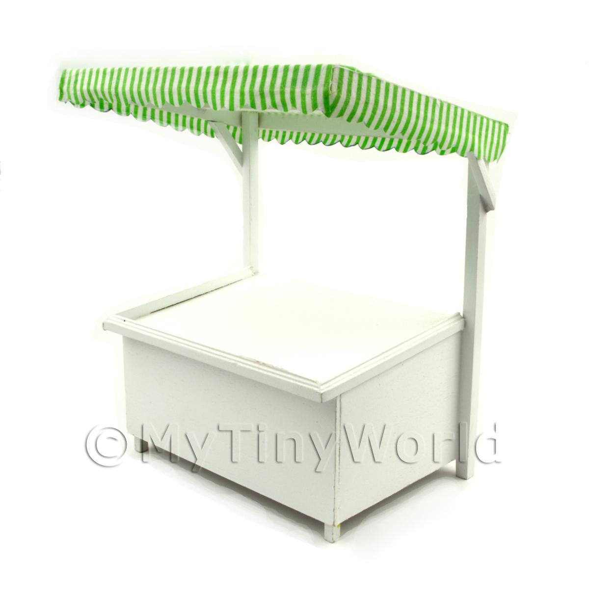 Miniature Large Wood Market Stall With Green Stripey Cloth Canopy