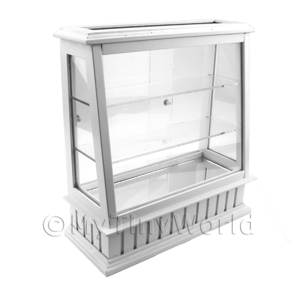 Dolls House Miniature Tall Wood And Glass Shop Display Counter