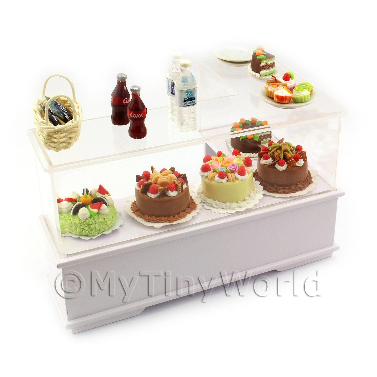 Dolls House Miniature L Shaped 2 Tier Filled Left Hand Dessert Counter