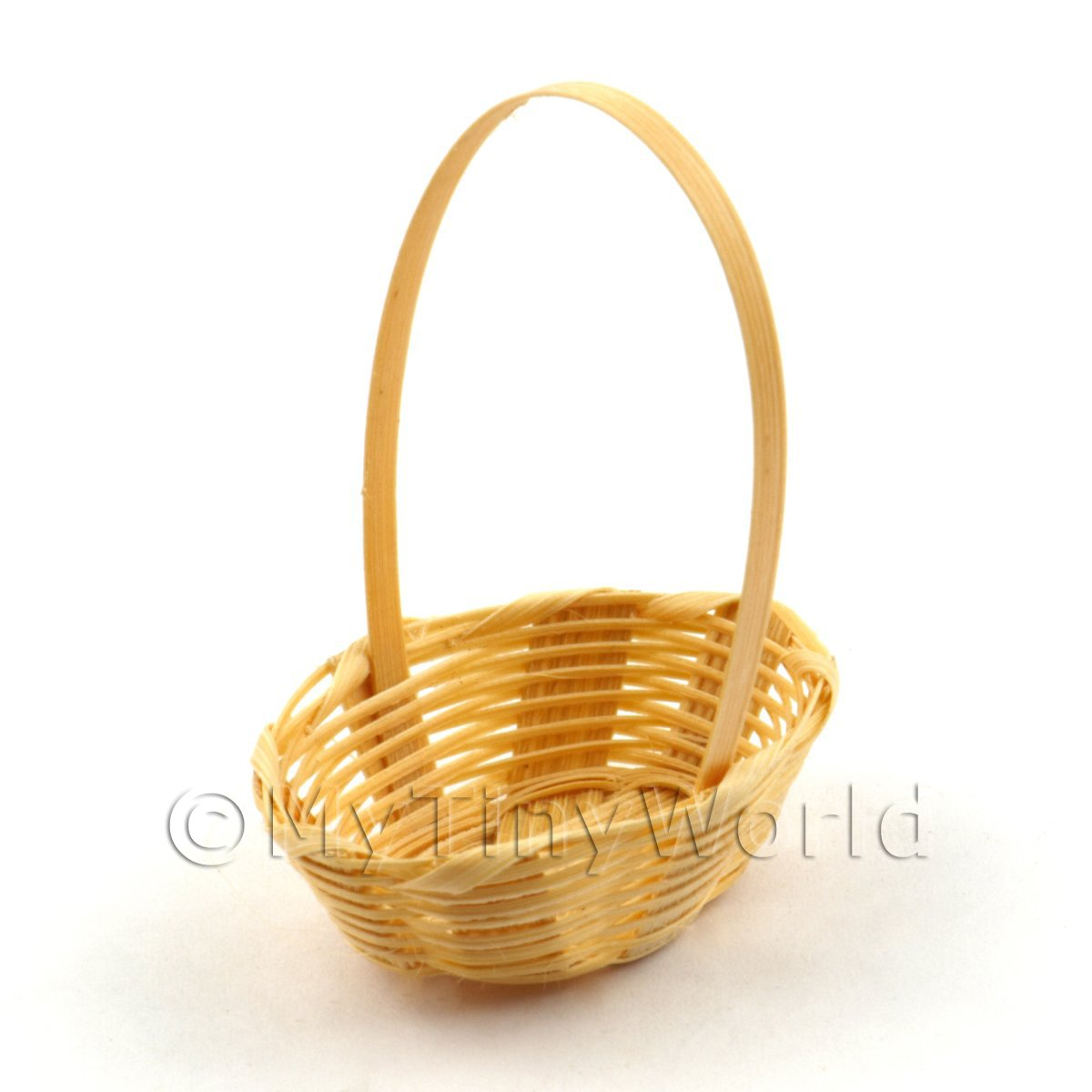 Tiny Wicker Basket With Handle : Dolls house miniature kitchenware
