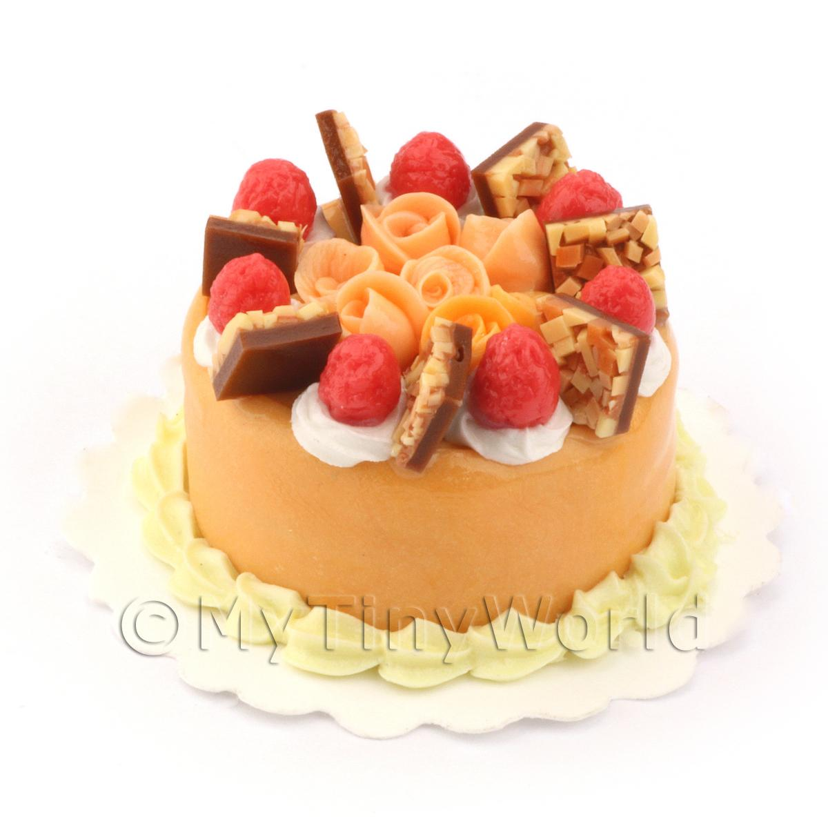 Dolls House Miniature Orange Rose Gateaux