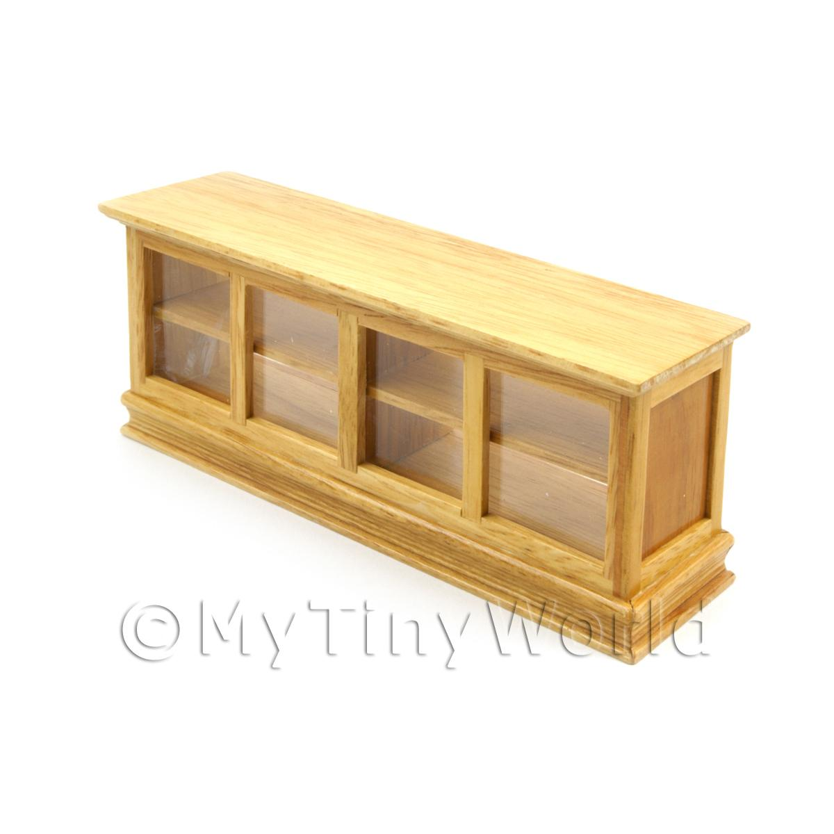 Dolls House Miniature Pine Shop Counter with see through shelving
