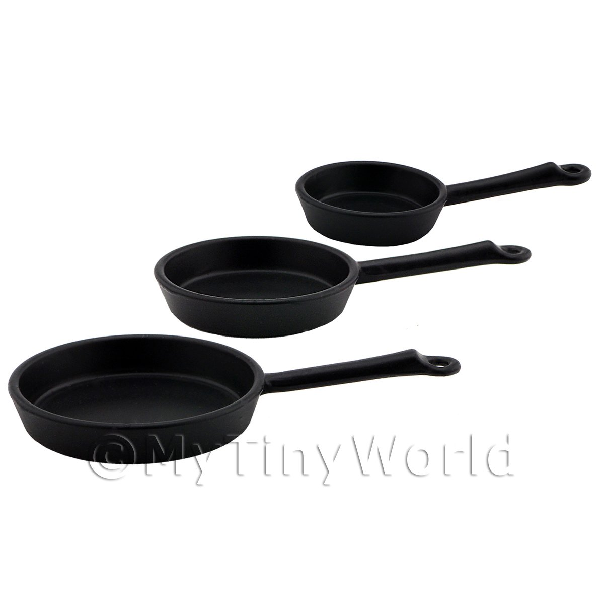 Dolls House Miniature Set of 3 High Quality Black Metal Frying Pans