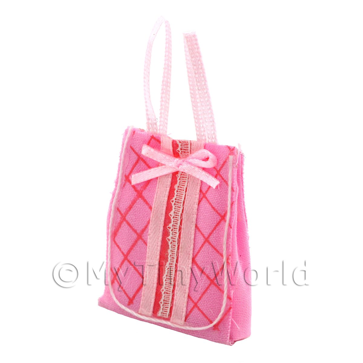 Dolls House Miniature Pink Fabric Shopping Bag