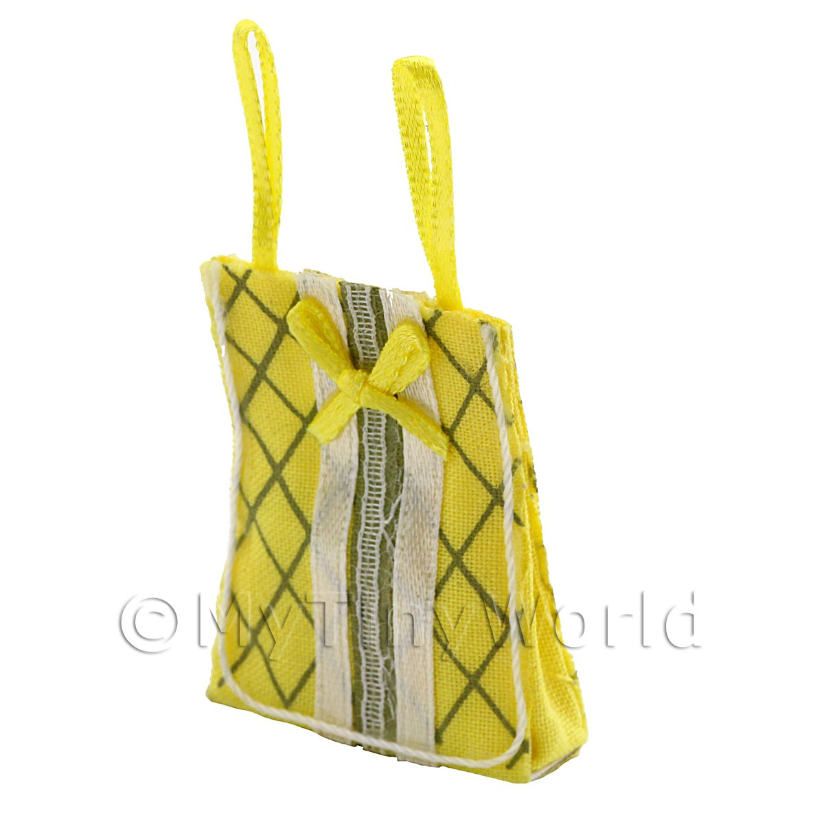 Dolls House Miniature Yellow Fabric Shopping Bag