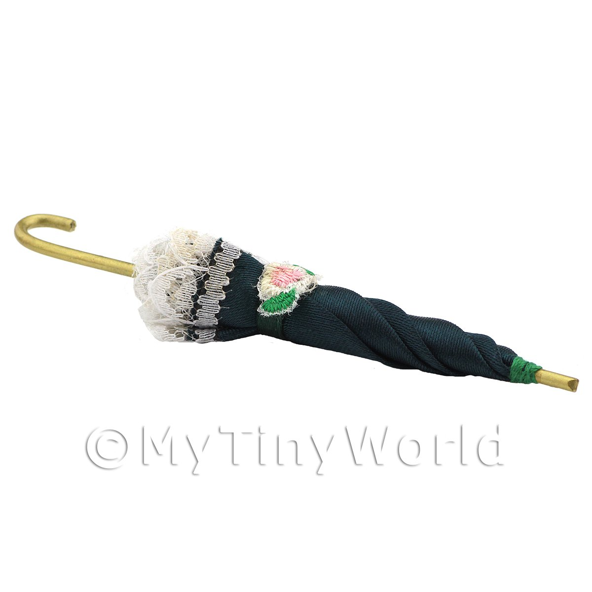 Dolls House Miniature Ladies Green Umbrella With Lace Trim