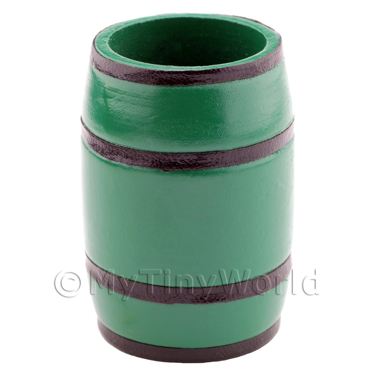 Dolls House Miniature Open Topped Green Wood Barrel / Water Butt