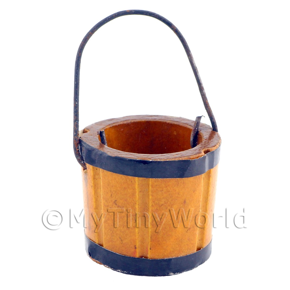 Dolls House Miniature Small Wooden Bucket With Metal Handle
