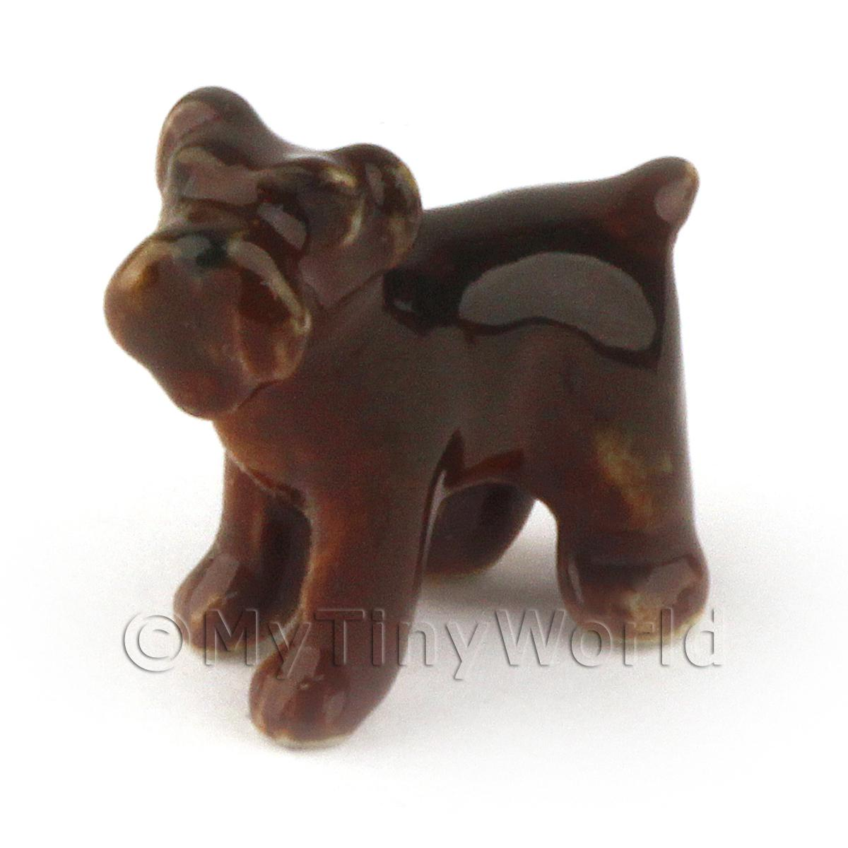 Dolls House Miniature Ceramic Airedale Puppy