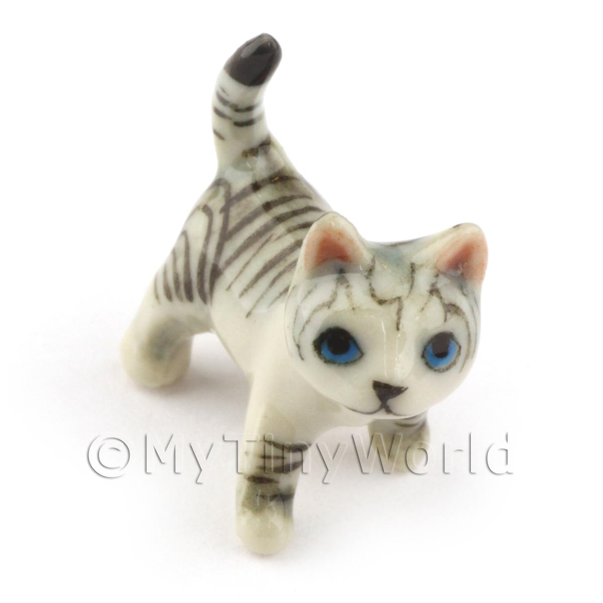 Dolls House Miniature Ceramic Grey Tabby Cat In Standing Position