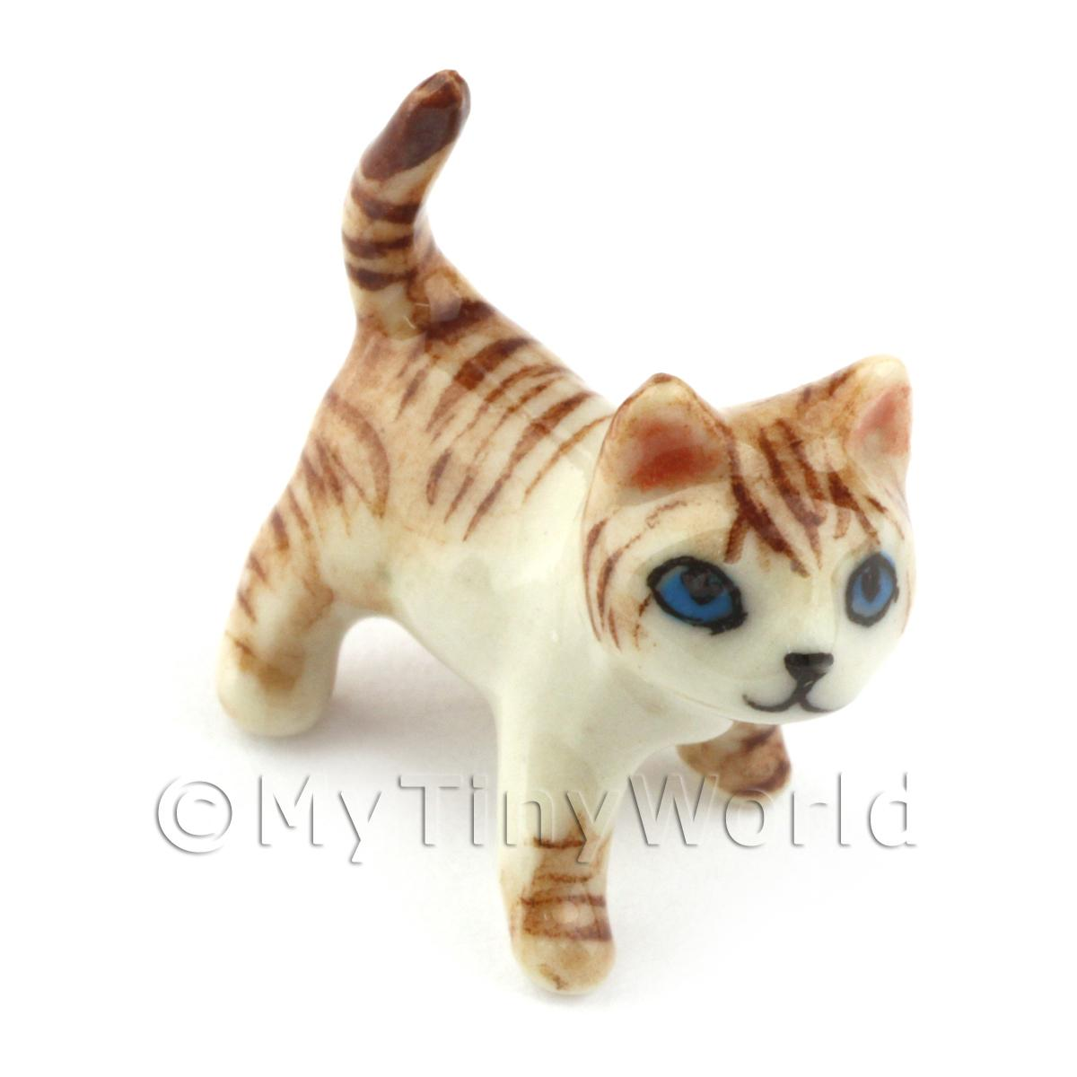 Dolls House Miniature Ceramic Brown Tabby Cat In Standing Position