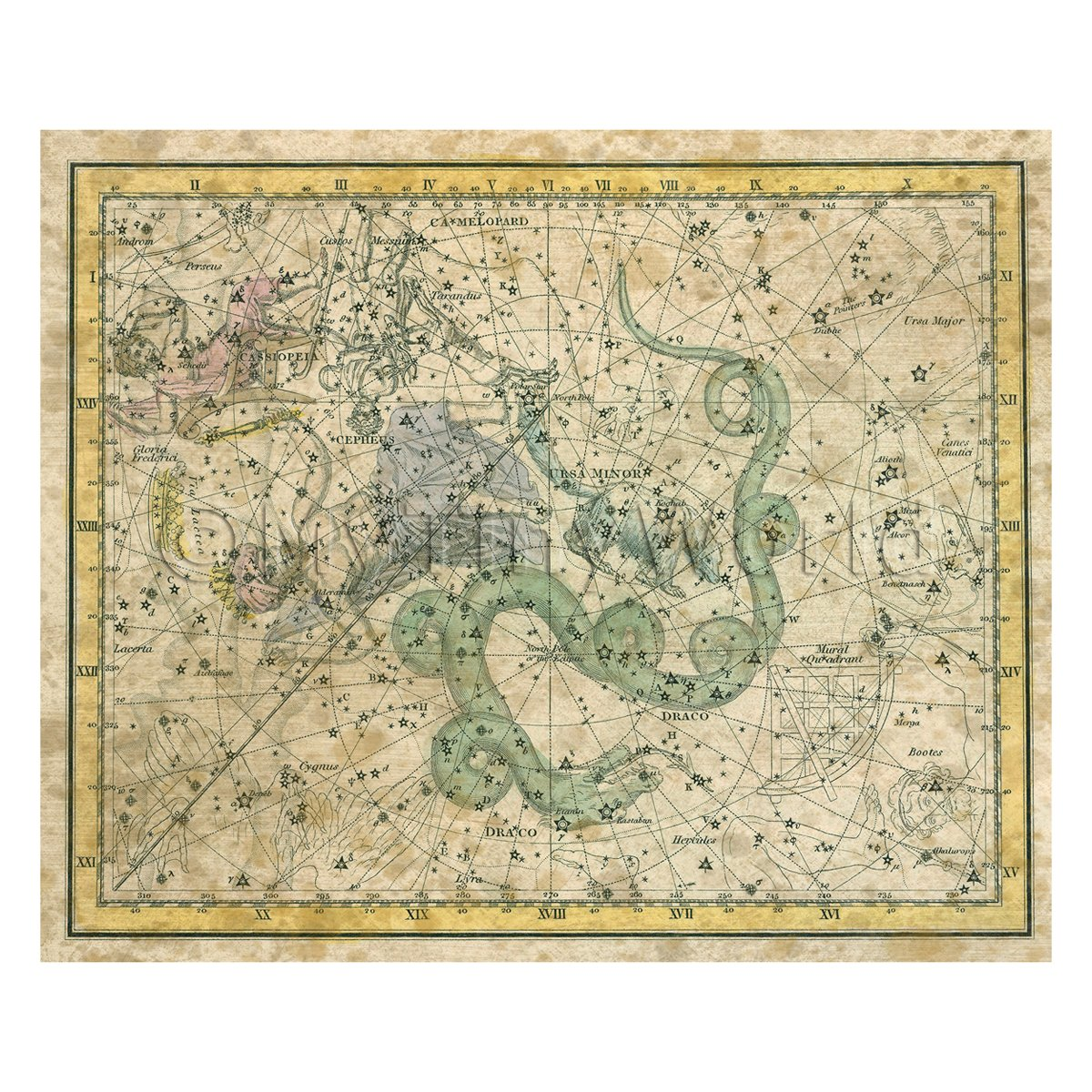 Dolls House Miniature Aged Star Map With Ursa Minor 1800s