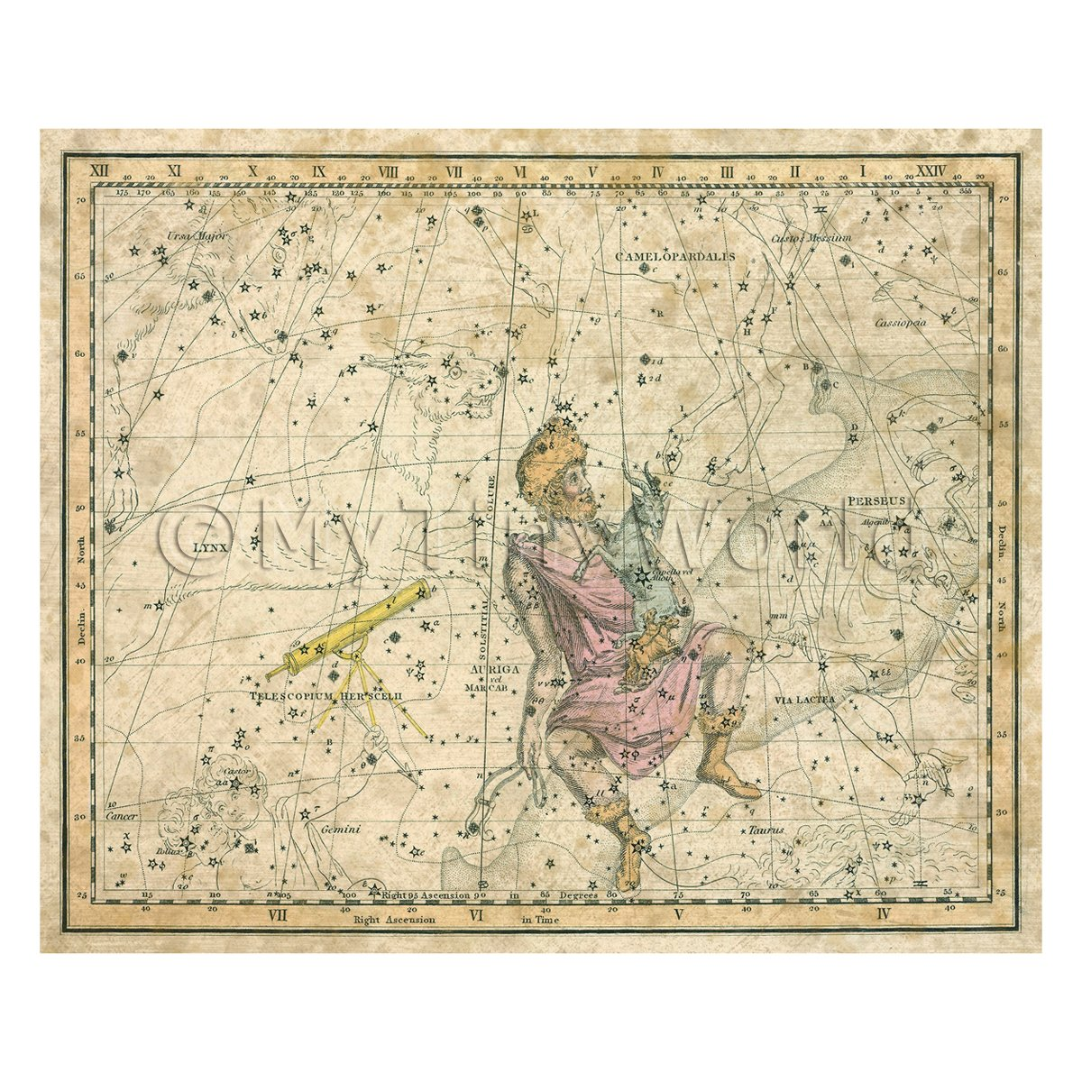 Dolls House Miniature Aged1800s Star Map With Auriga And Lnnx