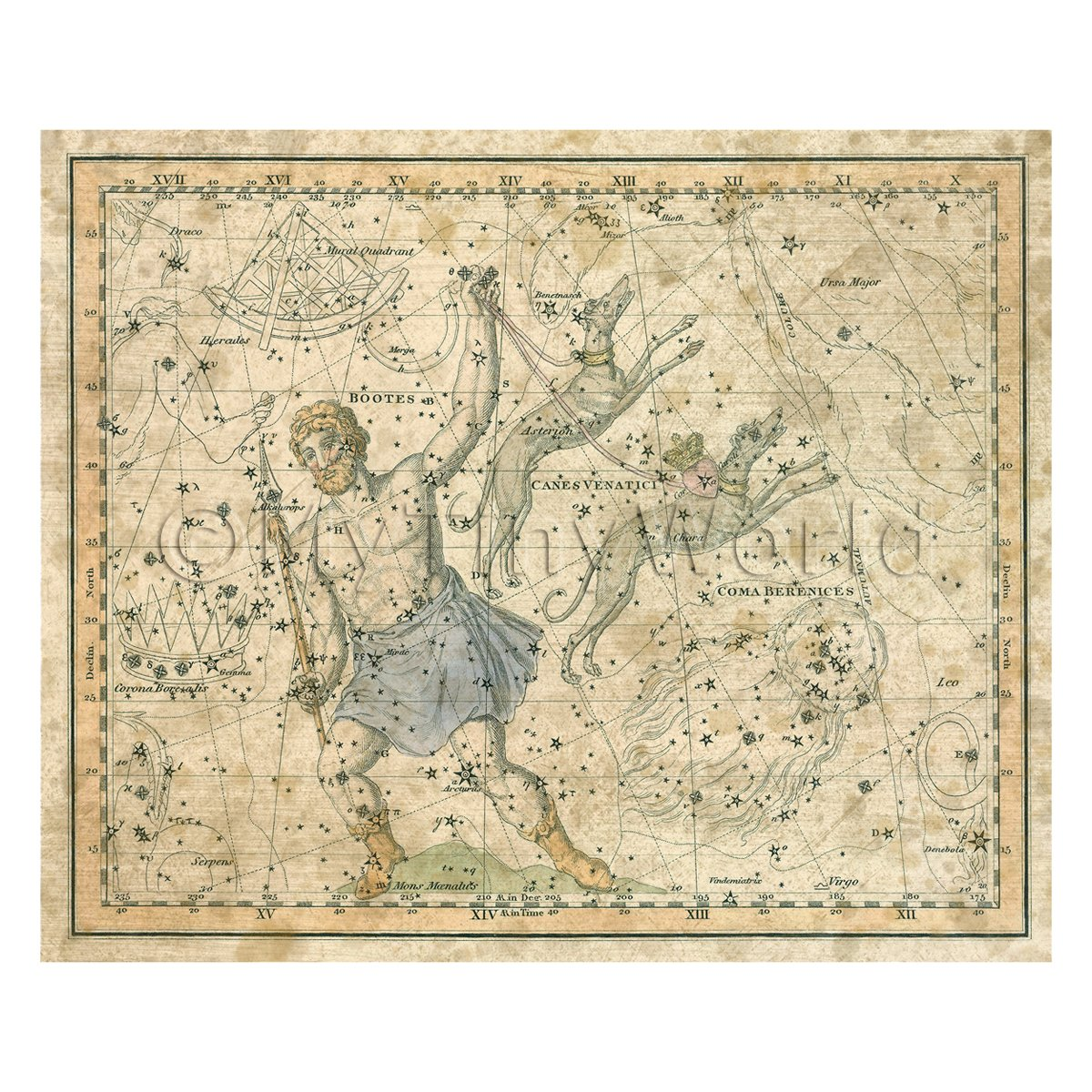 Dolls House Miniature Aged 1800s Star Map With Bootes