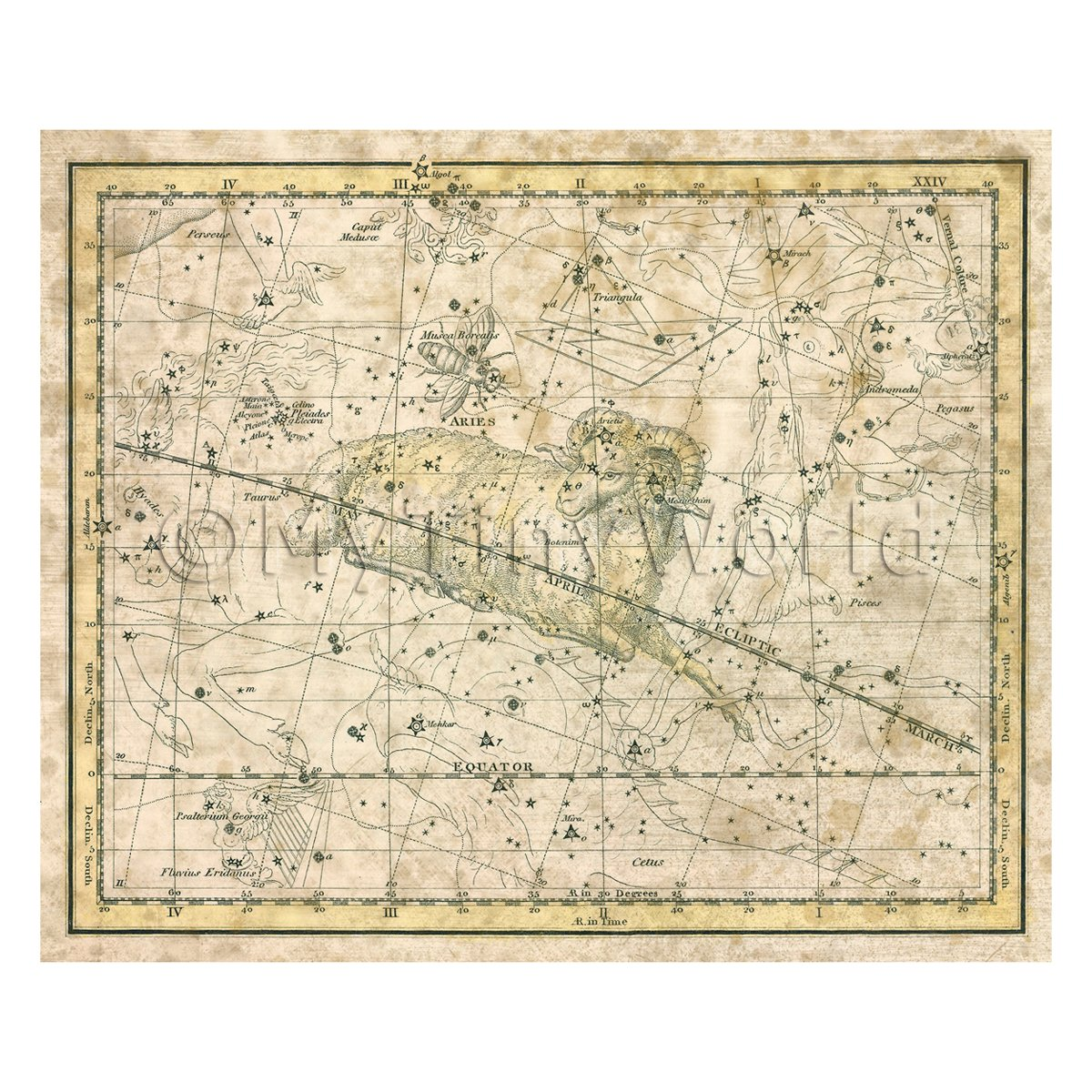 Dolls House Miniature Aged 1800s Star Map With Aries