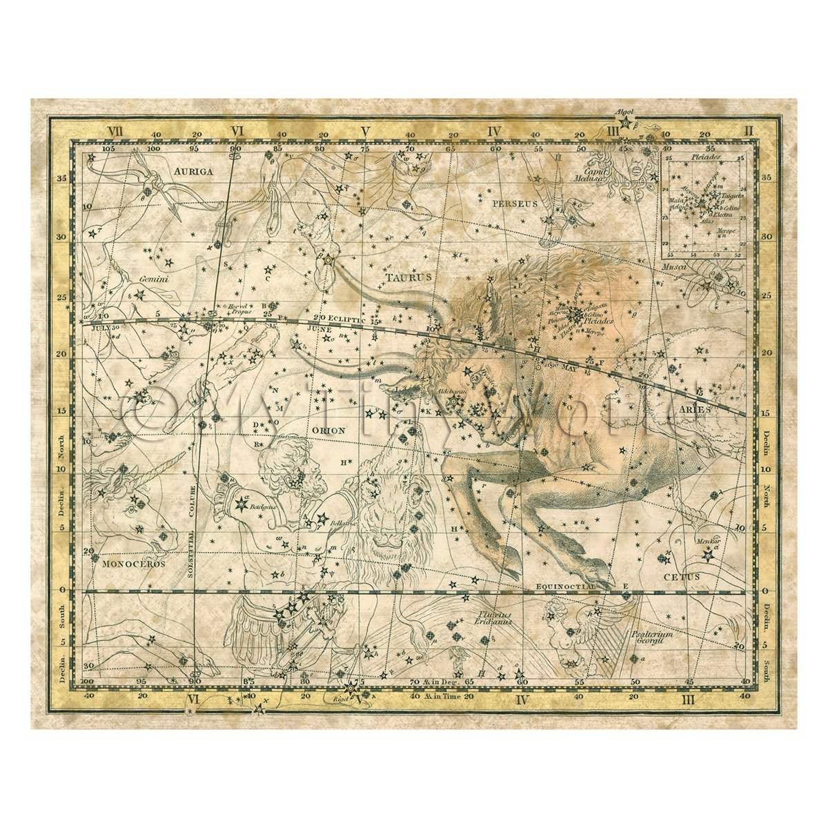 Dolls House Miniature Aged 1800s Star Map With Taurus And Orion