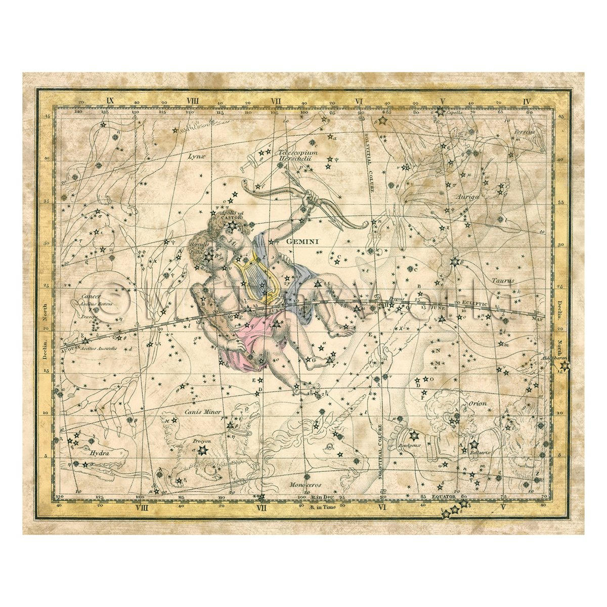 Dolls House Miniature Aged 1800s Star Map With Gemini