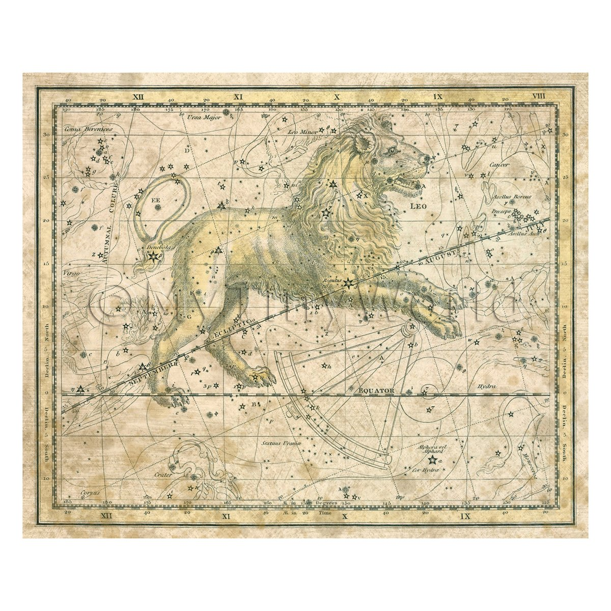 Dolls House Miniature Aged 1800s Star Map With Leo