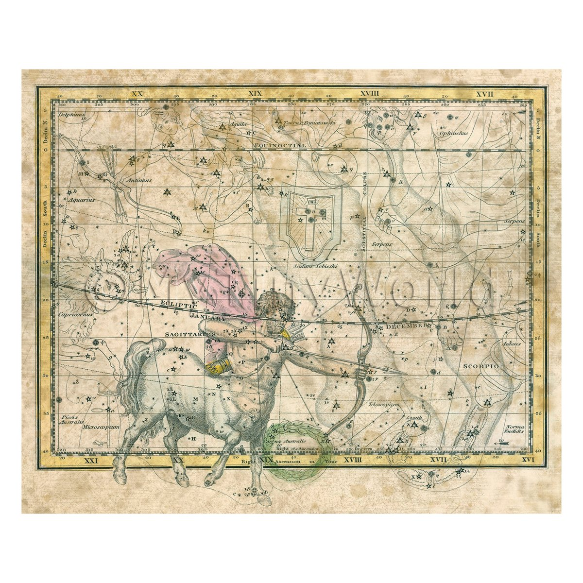 Dolls House Miniature Aged 1800s Star Map With Sagittaries