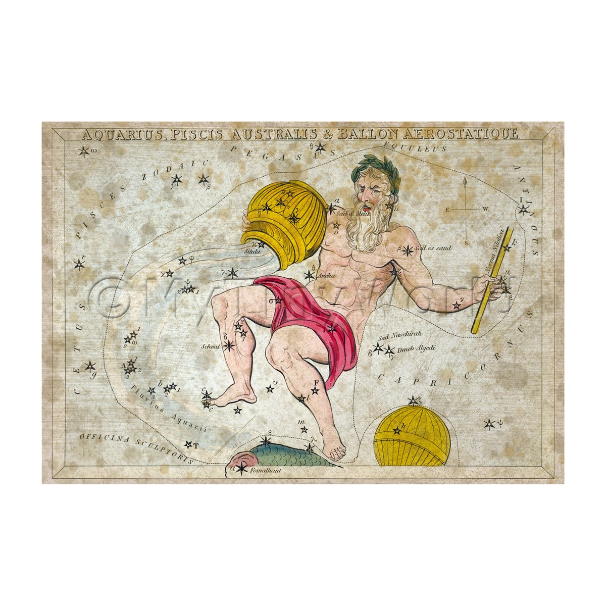 Dolls House Miniature Aged 1820s Star Map Depicting Aquarius