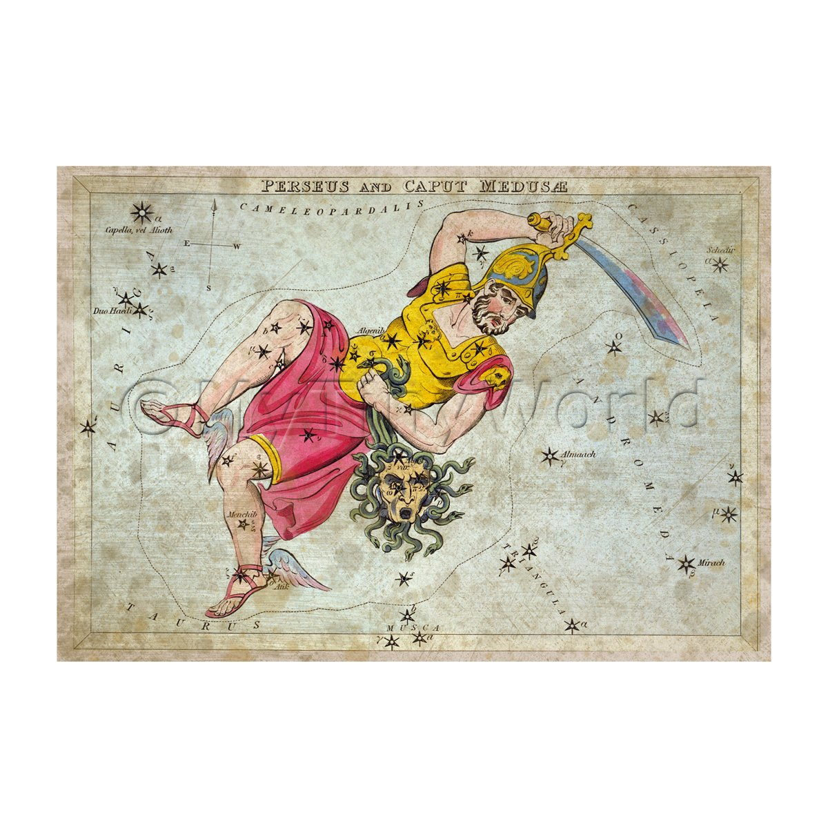 Dolls House Miniature Aged 1820s Star Map Depicting Perseus, Medusae
