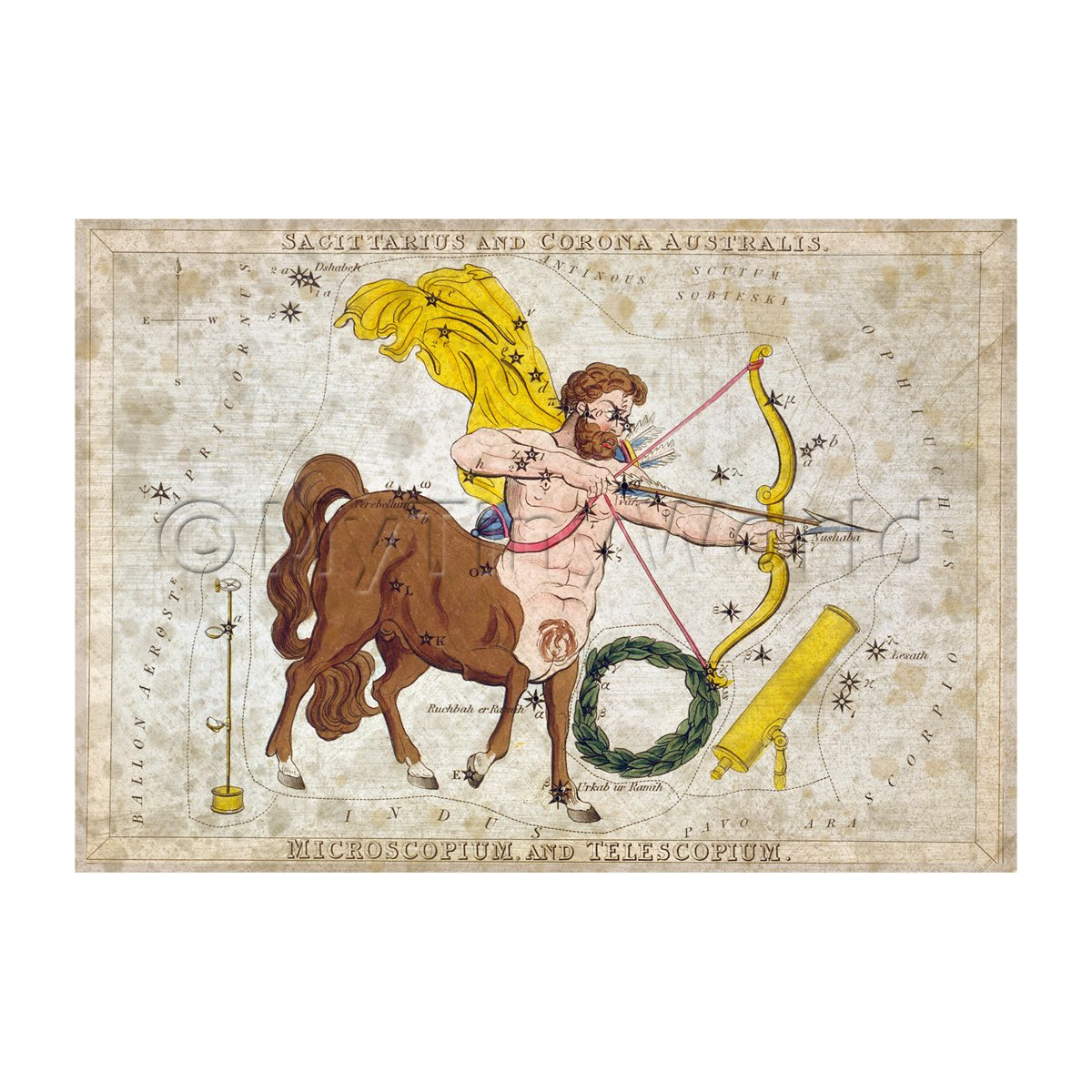 Dolls House Miniature Aged 1820s Star Map Depicting Sagittarius