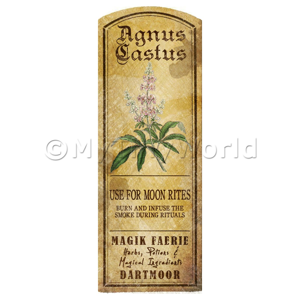 Dolls House Herbalist/Apothecary Agnus Castus Herb Long Colour Label