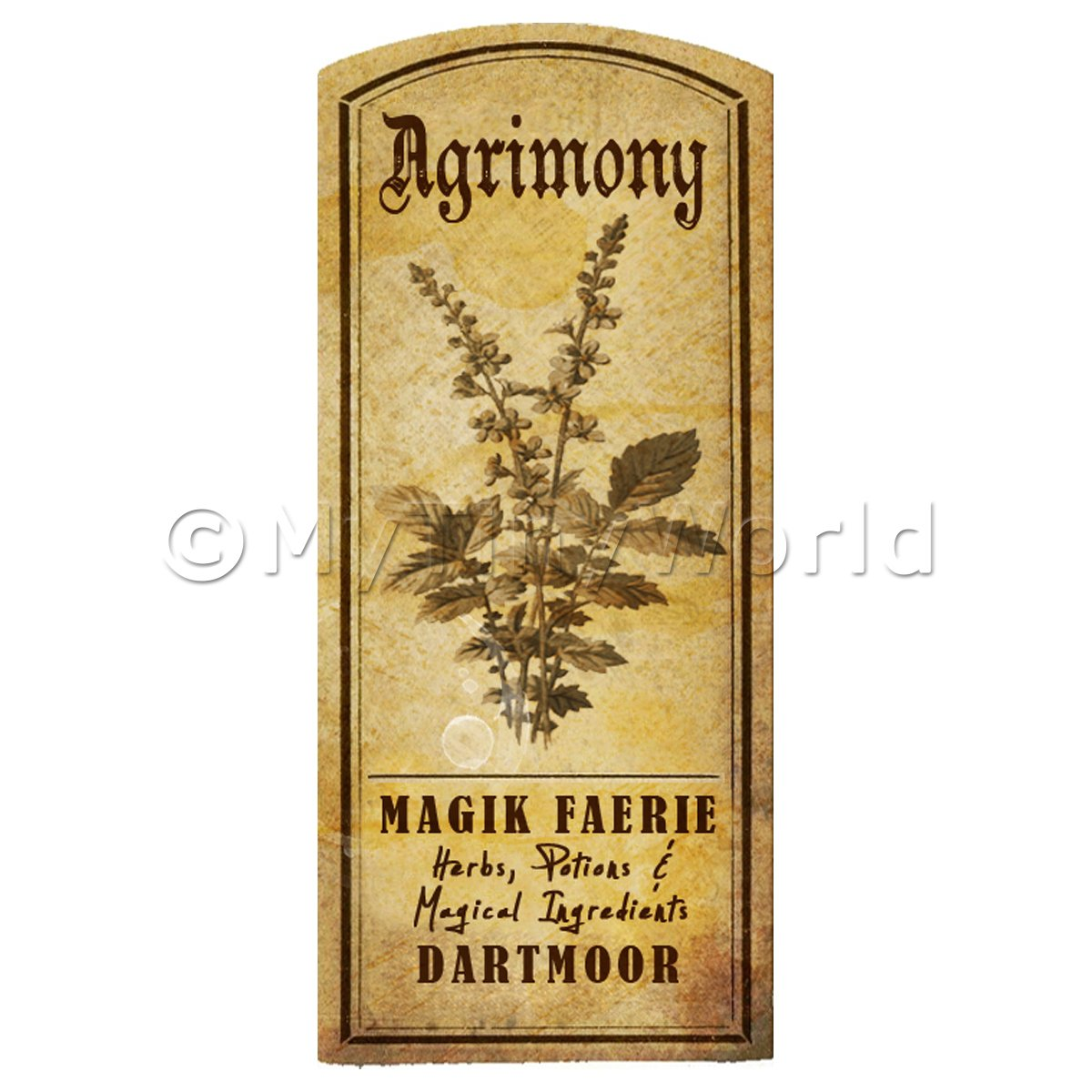Dolls House Herbalist/Apothecary Agrimony Herb Short Sepia Label