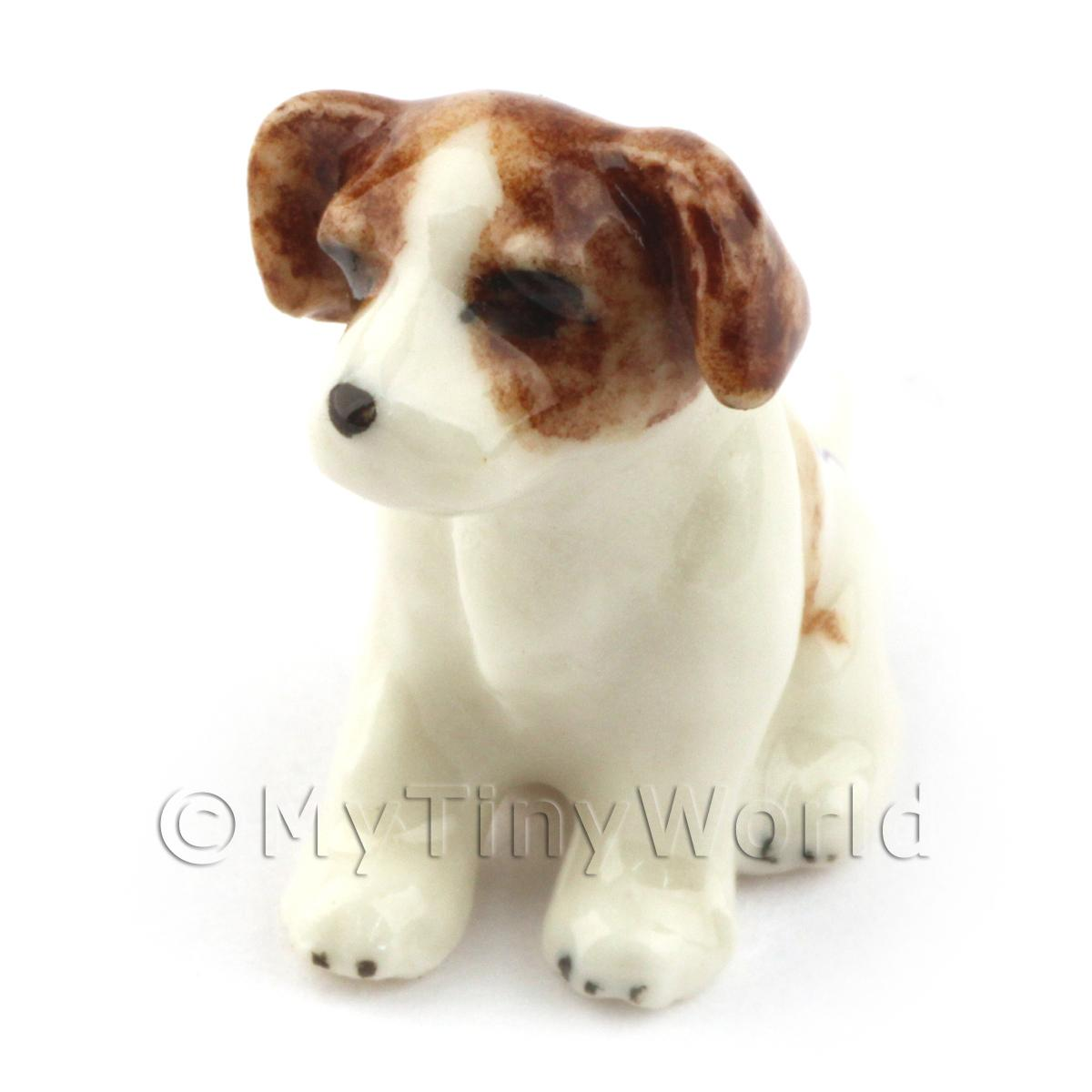 Dolls House Miniature Ceramic Jack Russell Puppy