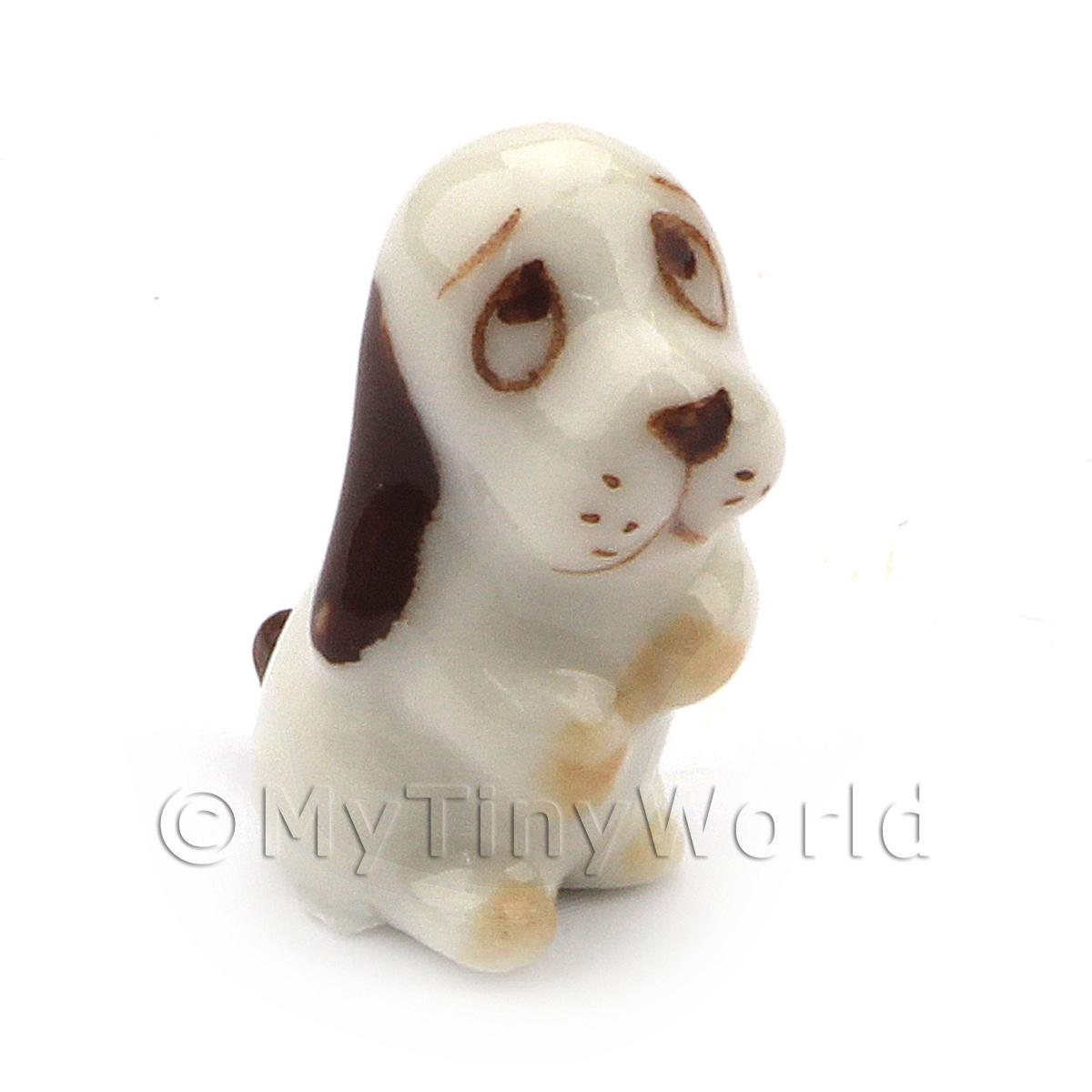 Dolls House Miniature Ceramic White and Brown Dog