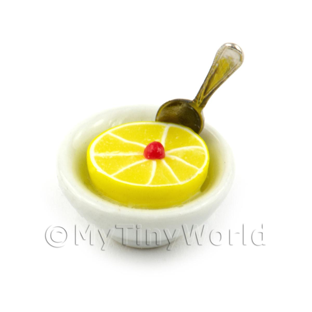 Dolls House Miniature Half Grapefruit In a Bowl