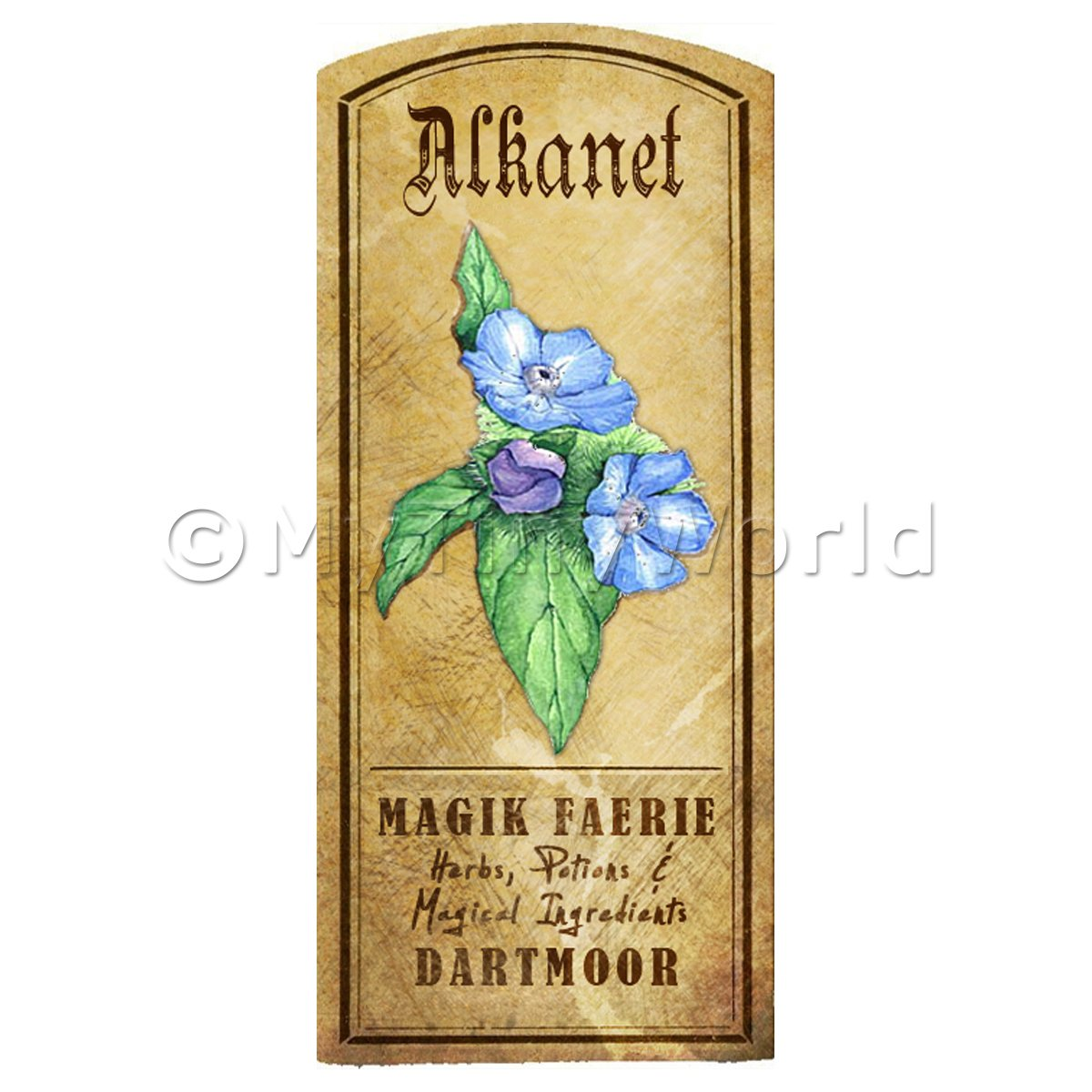 Dolls House Herbalist/Apothecary Alkanet Herb Short Colour Label