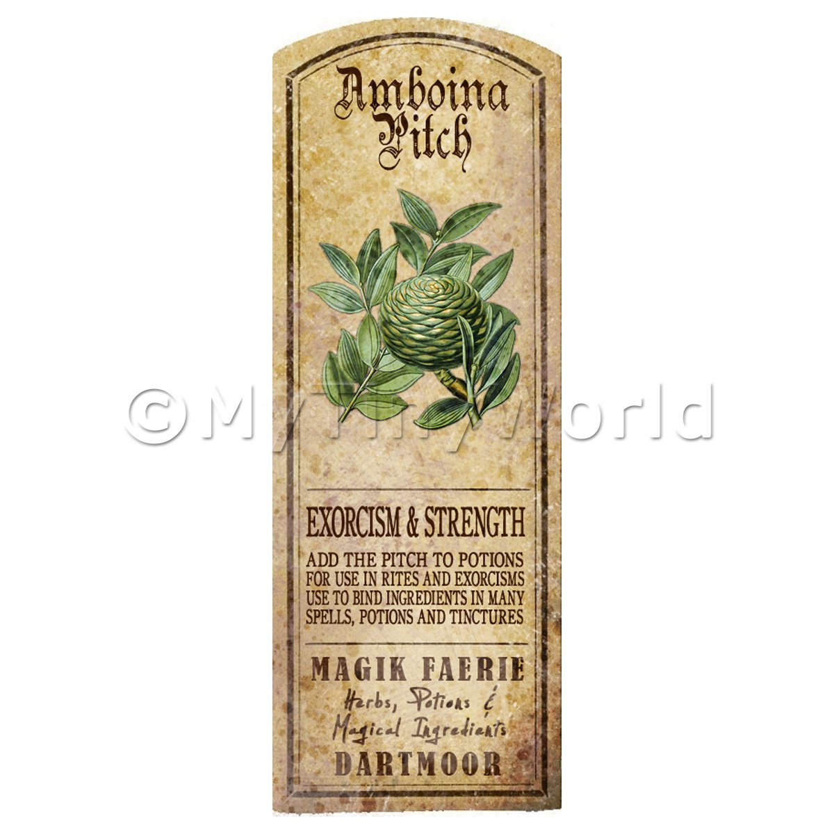 Dolls House Herbalist/Apothecary Amboina Pitch Herb Long Colour Label